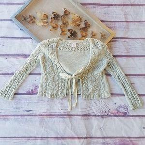 Rebecca Taylor Textured Wool Blend Knit Cardigan P
